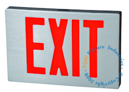 image of Cast Aluminum Exit Sign with Red lettering and Black housing