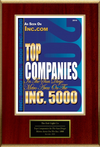 Image of Inc.com 5000 award for Top Companies in the San Diego Metro Area