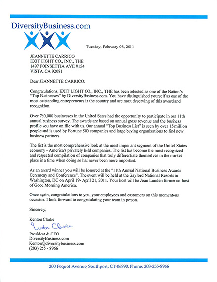 Image of Award Letter to Exit Light Co from DiversityBusiness.com