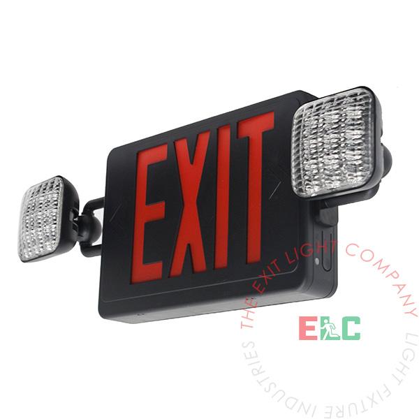 red all led exit sign emergency light black housing. Black Bedroom Furniture Sets. Home Design Ideas