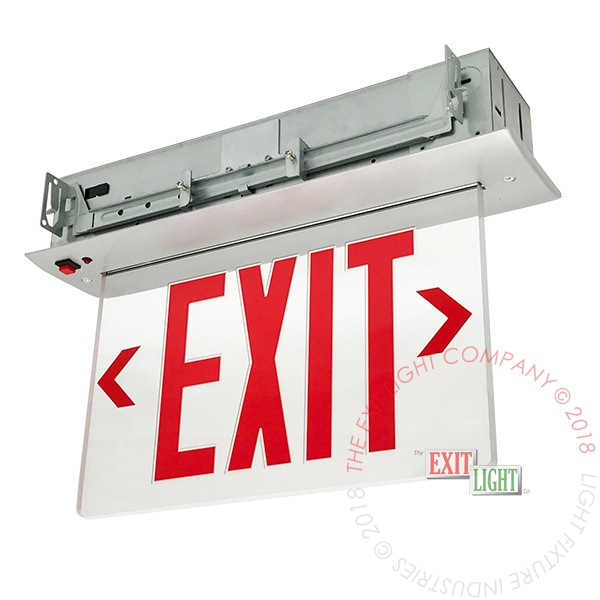 Edge lit edge light recessed exit light co exit sign edge lit red led recessed ceiling mount mozeypictures Images