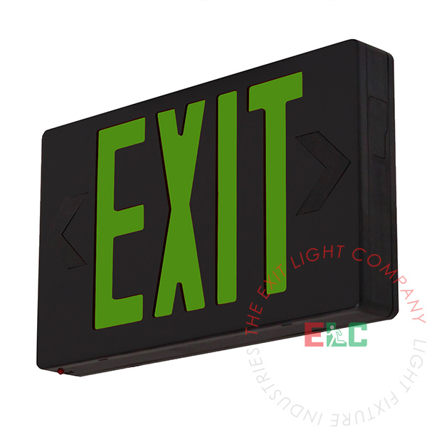 Great Close Exit Sign, Standard   Green LED   Black   Battery Backup Awesome Design
