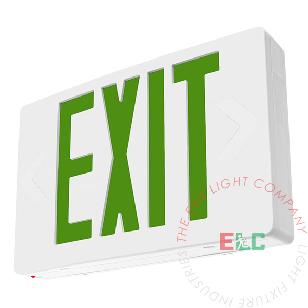 Exit Sign Standard Green Led White Battery Backup
