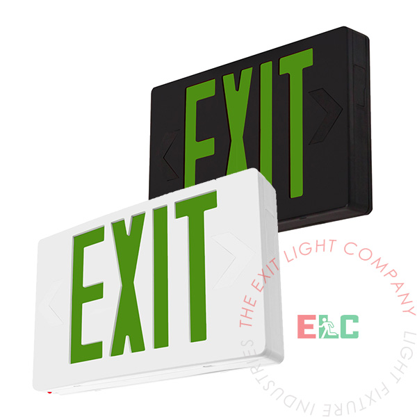 Standard Green LED Exit Sign   White or Black Housing