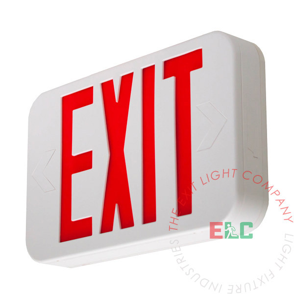 Exit Sign, Modern Design - Red LED - White - Battery Backup